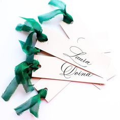 green silk ribbon, grey paper, calligraphy placecards, copperplate, nametags Wedding Stationary, Wedding Invitations, Addressing Envelopes, Wedding Place Cards, Green Silk, Name Cards, Silk Ribbon, Wedding Designs, Calligraphy