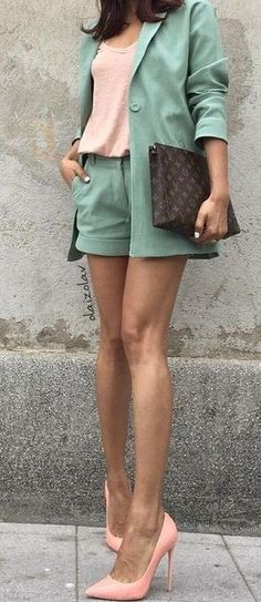#summer #hot #weather #outfits |  Green Short Suit + Peach
