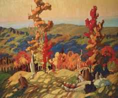 "Franklin Carmichael – was a Canadian artist. He was the youngest original member of the Group of Seven. ""Autumn in the Northland"" Tom Thomson, Emily Carr, Canada Landscape, Landscape Art, Landscape Paintings, Contemporary Landscape, Landscape Design, Canadian Painters, Canadian Artists"