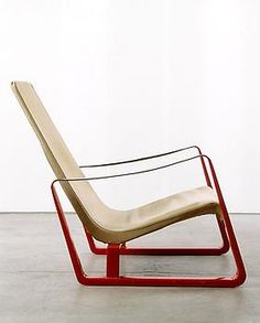 """""""Cité"""" armchair (red),   c. 1933 Metal, leather and canvas by Jean Prouve"""
