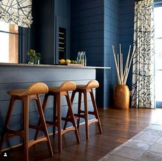 Classic Erik Buch Model 61 bar stools in walnut & custom blue leather at a home bar in blue with shiplap and brass details. Dream House Exterior, Next At Home, Bar Stools, Kitchen Design, Furniture Design, Design Inspiration, House Design, Dining, Architects
