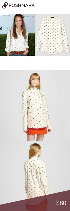 ?? Print Button Down Top - Victoria Beckham Women's Bee Print Button Down Top - Victoria Beckham for Target  look perfectly polished in this Women's Bee Print Button Down Top by Victoria Beckham for Target.   Sizing: Women Material: 100% Cotton, Neckline Style: Collared Collar Type: Mandarin collar Sleeve Style: Long sleeve Closure Style: Front button down Care and Cleaning: Machine wash, cold, Machine wash, gentle or delicate, Wash with Like Colors. Victoria Beckham Tops Blouses