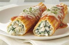 Very tasty! Spinach and Chicken Manicotti -- Subbed mozz cheese for marble cheese, and included mushrooms and onions with spinach.