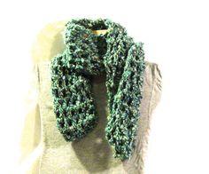 Double crochet, 9 stitch, blue-green scarf