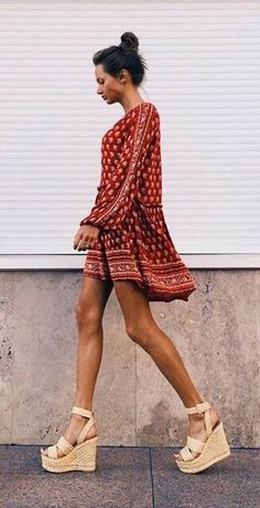 Summer style // silk dress and woven platform sandals