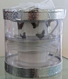 GRACE'S TEAWARE 2 FLAT CUP & SAUCER SETS SILVER METALLIC BUTTERFLY & DOTS NEW #GRACESTEAWARE