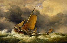 """Edward William Cooke """"Scheveningen Pincks Off the Coast of Yarmouth"""" (1864)"""
