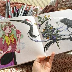 Finally getting some sketching done this morning. Sketchbook Inspiration, Sketchbook Ideas, Doodle Inspiration, Character Illustration, Illustration Art, Crane Drawing, Audra Auclair, A Level Art Sketchbook, Mail Art