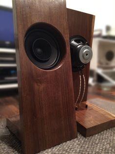 """Full range single point open baffle speaker. Hand made by Reid Case. 8"""" full range driver,"""