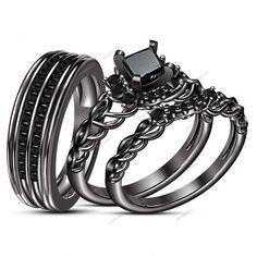 9k Black Gold Finish 1. CT Princess AAA Diamond Wedding His & Her Trio Ring…