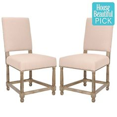 $420 Safavieh Set of 2 Faxon Side Chairs - Beige/Whitewash Stain at HSN.com.