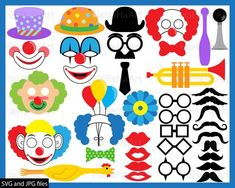Clown Props - Set Clipart - Digital Clip Art Graphics, Personal, Commercial Use - 126 PNG images Clown Party, Daddy, Cute Clown, Gift Card Boxes, Funny Costumes, Circus Theme, Chandelier, Photo Booth Props, Digital Stamps