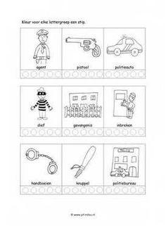 Werkblad politie - Lettergrepen Homeschool, Letters, Pdf, Sport, Image, Police, Fire Department, Deporte, Sports