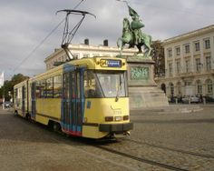 Brussels tram and statue Cantilever Bridge, Slow Travel, Brussels Belgium, Light Rail, City Scene, Mode Of Transport, Old World Charm, Tourism, Places To Visit