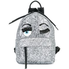 Chiara Ferragni 'Flirting' glitter backpack ($405) ❤ liked on Polyvore featuring bags, backpacks, metallic, grey backpack, top handle bags, grey leather backpack, backpack bags and chiara ferragni