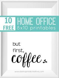 GRATIS PARA IMPRIMIR DESCARGAR: 10 dibujos Home Office 8x10 para inspirar a usted, puso un poco de sabor en la decoración de su oficina, y para la diversión.  Me encanta estas citas y frases de inspiración, así que decidí crear estas imágenes imprimibles divertidas que se pueden descargar e imprimir directamente desde su ordenador de casa desde Be Inspired creativo.
