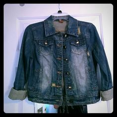 Cute Spring Jean Jacket Button up Jean jacket with foldable sleeves Jou Jou Jackets & Coats Jean Jackets