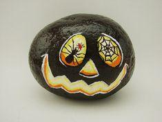 Spooky Halloween Jack-O-Lantern hand-painted rock