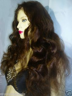 Front Lace Wig Wigs #4+2 Remi Remy Indian Human Hair Wavy Body Wave Dark Brown