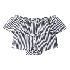 Off Shoulder Ruffle Knot Hem Crop Top Black Stripe (280 MXN) ❤ liked on Polyvore featuring tops, www.zaful.com, cut-out crop tops, flutter-sleeve top, striped crop top, knotted crop top and crop top