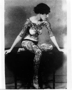 Women with extensive tattoos, such as this one, were often to be found in travelling circuses during the 1920s