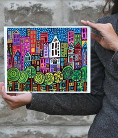 New York Skyline - Central Park Art Poster signed print of painting - Wedding Gifts. $24.00, via Etsy.