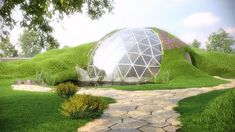 Biodomes can part-bury the dome to create an earth-sheltered home