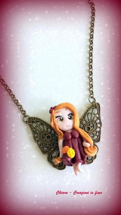 #polymerclay #fairy #autumn Collana con ciondolo in fimo fatto a mano con fatina autunnale