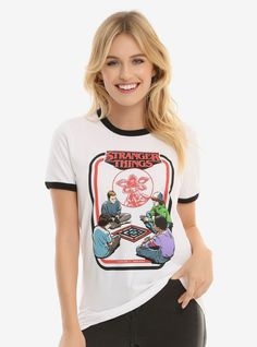 The paladin, the bard, the ranger, and the mage. Mike, Dustin, Lucas, and Eleven sit down to play a board game in this totally '80s tee from  Stranger Things .   100% cotton  Wash cold; dry low  Imported  Listed in women's sizes