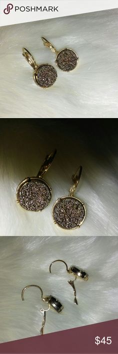 "Anthropologie Gold Plated Hanging Druzy Earrings Reposh. Not my style. The round druzy part is 1/2"" big. Really pretty. LIKE BRAND NEW.  EMERGENCY SITUATION & NEED THE MONEY!! Anthropologie Jewelry Earrings"