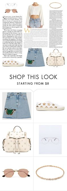"""""""Untitled #389"""" by gezelxizv ❤ liked on Polyvore featuring Gucci, Yves Saint Laurent, RED Valentino, Ray-Ban and Suzanne Kalan"""