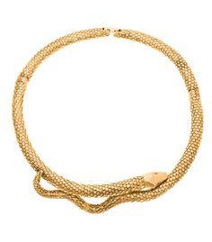 Aurélie Bidermann Tao Snake Necklace - Gold Choker Necklace - ShopBAZAAR