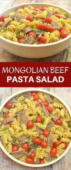Mongolian Beef Pasta Salad is all your favorite Mongolian beef flavors in cold salad form! With al dente rotini, succulent beef sirloin, juicy grape tomatoes, and green onions tossed in a sweet and savory sauce, this pasta salad is a guaranteed crowd pleaser!
