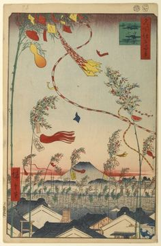 73 The City Flourishing, Tanabata Festival (7th month, 1857) Hiroshige - From the series One Hundred Famous Views of Edo, circa 1856–58. Woodblock print. Brooklyn Museum. Gift of Anna Ferris | Autumn prints 73-98