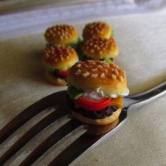 Cheese Burger Post Earrings Miniature Food by CobaltMoonJewelry, $15.95