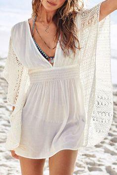 Beige Deep V Neck Crochet Lace Dress For Women Summer Dresses   RoseGal.com Mobile