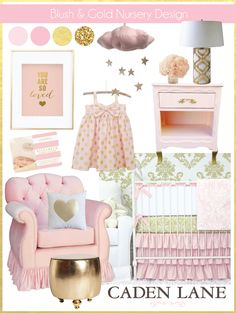 Blush and Gold Nursery Design with Caden Lane bedding is so sweet for a baby girl!