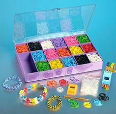 Loom Rainbow Rubber Band Complete Collection Organizer Storage Kit – Includes 4000 Rainbow Rubber Bands, 120 S Clips and 4 Digital Watches All In a Convenient Storage Organizer Case | Best Kid Store
