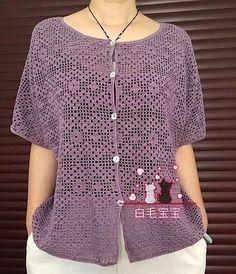 Beautiful summer blouse using sirloin technique 0 Summer Blouses, Cardigan, Polka Dot Top, Ravelry, Knitted Hats, Knit Crochet, Crochet Patterns, Knitting, Sweaters
