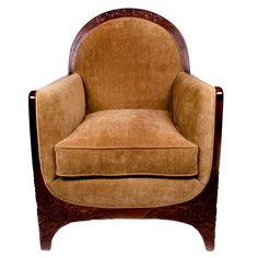 French Art Deco Period Carved Walnut Armchair