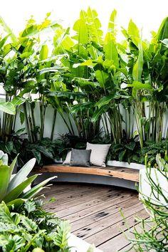Tropical Backyard Landscaping, Tropical Garden Design, Small Backyard Design, Backyard Garden Design, Small Backyard Landscaping, Backyard Ideas, Small Garden Landscape Design, Small Tropical Gardens, Tropical Patio