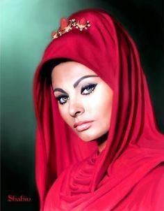 Shahin Gholizadeh   Iranian Digital pastel painter Sophia Loren 1934
