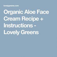 Organic Aloe Face Cream Recipe + Instructions - Lovely Greens #SaltFaceScrub Salt Face Scrub, Aloe On Face, Cream For Oily Skin, Recipe Instructions, Face Creams, Moisturizer, Skin Care, Recipes, Organic