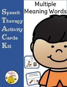 Speech Therapy Activity Cards Kit: Multiple Meaning Words Picture and Task Cards 134 Picture Cards and 268 Picture/Task Cards!!!Use STACK: Multiple Meaning Picture and Task Cards in a variety of waysUse the picture cards to discuss the two meanings for the wordUse the task cards to reinforce a deeper knowledge of the vocabulary words  the students will identify which picture represents the sentence given.Use the words in a sentence to demonstrate knowledge and understanding.Use cards…