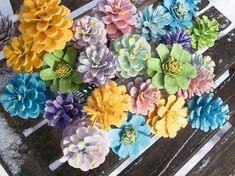 Pine Cone Flowers, Spring.  Painted Pine Cones on 12-inch Wood Stems.  One dozen.  Bouquet, Mother's Day, Valentine's Day, Easter, Gifts.