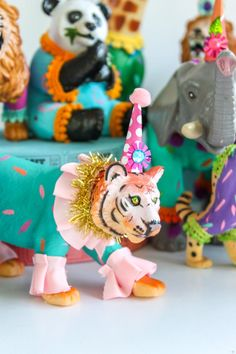 Custom Order Set of 4 Jumbo Party Animals- painted carnival, circus, and birthday decor Carnival Birthday Parties, Circus Birthday, Animal Birthday, Circus Party, Baby Birthday, Birthday Decorations, Table Decorations, Animal Set, Animal Party