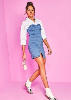 1235e98714 Missyempire - Denim Bandeau Button Mini Dress Overall Shorts, Denim Skirt,  Overalls, Jean