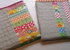 linen baby quilt: natural linen paired with vibrant colors