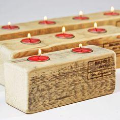 Bauholz Design - Teelichthalter aus gebrauchten Gerüstbohlen | ab EUR 22,00