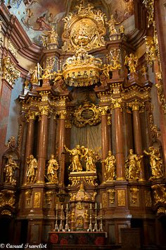 Beautiful Golden Altar Inside The Melk Abbey In Austria. Cathedral Architecture, Beautiful Architecture, Art And Architecture, Catholic Art, Religious Art, Casa Steampunk, Baroque, Melk Austria, Old Churches